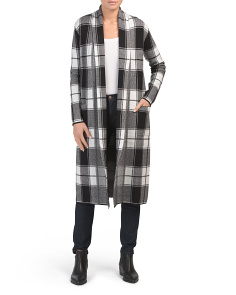Double Knit Plaid Duster Cardigan