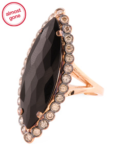Made In Usa 18k Gold Diamond And Black Agate Doublet Ring
