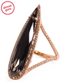 Made In Usa 18k Rose Gold Diamond And Smokey Quartz Ring