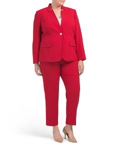 Plus One Button Flap Pocket Pantsuit