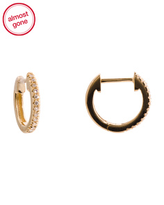 14k Gold And Diamond Huggie 9mm Hoop Earrings