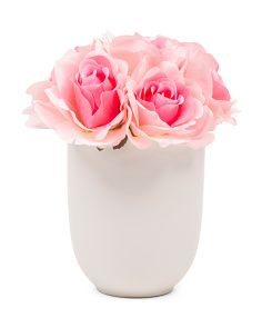 10in Pink Roses In Ceramic Pot