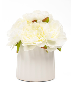 10in White Peonies In Ceramic Pot