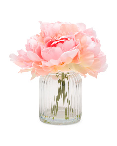 9in Peonies In Faux Water Glass Vase