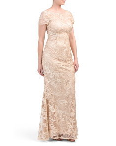 Embroidered Soutache Long Gown