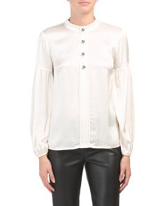 Mock Neck Blouse With Buttons