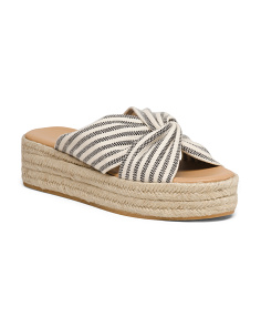 Striped Canvas Flatform Sandals
