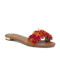 Made In Italy Leather Fringe Sandals