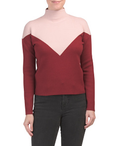 Double Knit Mock Neck Color Block Sweater