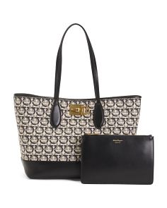 Made In Italy Gancini Jacquard Canvas Tote