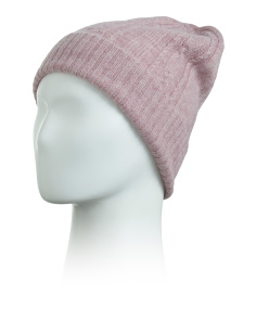 Cashmere Cuffed Braid Cable Beanie