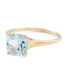 Made In India 14k Gold Blue Topaz And White Topaz Ring