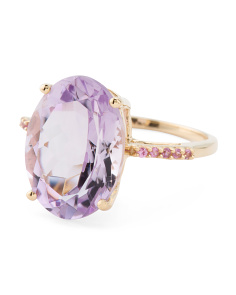 Made In India 14k Gold Amethyst And Pink Sapphire Ring