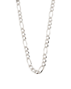 Made In Italy Sterling Silver Figaro Chain Necklace