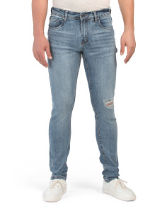 Slim Fit Crosshatch Denim Jeans