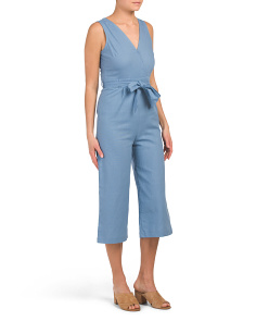Juniors Denim Surplus Linen Blend Gaucho Jumpsuit