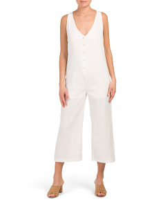 Juniors Linen Blend Jumpsuit