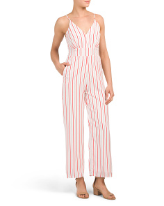 Juniors Stripe Jumpsuit