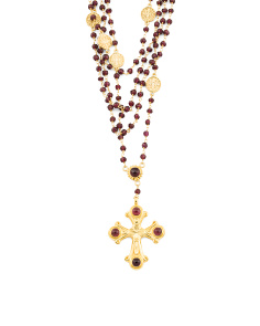 Handmade In India Sterling Silver Garnet Rosary Necklace