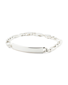 Made In Italy Sterling Silver Id Figaro Chain Bracelet