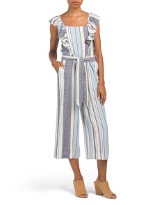 Juniors Striped Ruffle Linen Blend Jumpsuit