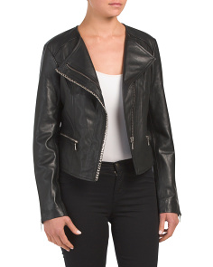 Chain Trim Leather Jacket