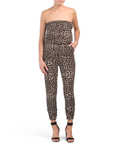 Juniors Leopard Strapless Jumpsuit