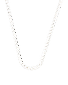Made In Italy Sterling Silver Cuban Chain Necklace