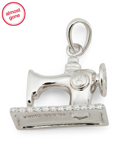 Sterling Silver Cz Sewing Machine Charm
