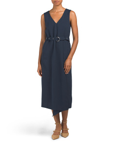 Drape Twill Faux Wrap Dress