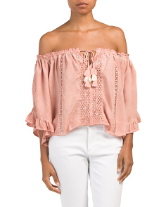 Juniors Off The Shoulder Crochet Top