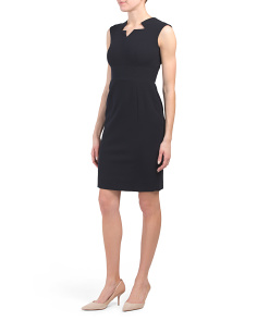 Petite Sleeveless Notch Neck Sheath Dress