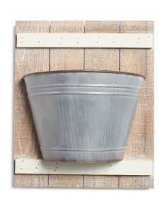 Metal Garden Bucket On Wood Background