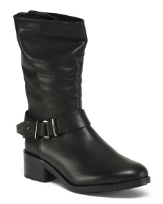 Made In Italy Leather Mid Shaft Boots