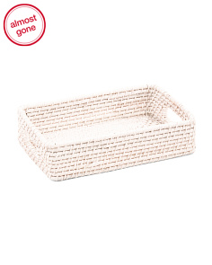 Small Rectangle Rattan Tray With Cut Out Handles