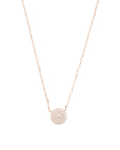 Rose Gold Plated Sterling Silver Pave Cz Station Necklace
