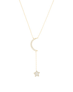 48ae769eb Gold Plated Sterling Silver Pave Cz Crescent Moon Necklace ...