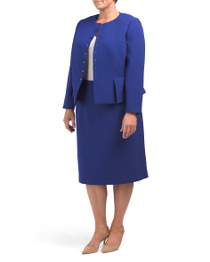 Plus Crepe Skirt Suit With Snap Closure