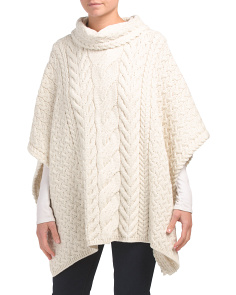 Made In Ireland Merino Wool Turtleneck Poncho