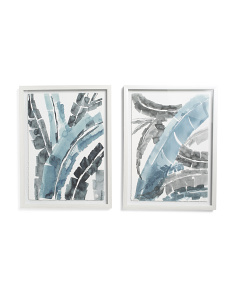 2pc Set Of 18x24 Banana Leaf Abstract Wall Art