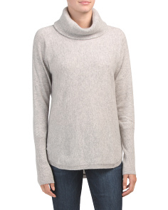 Round Hem Cowl Neck Cashmere Sweater Tunic