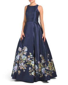 Hand Painted Floral Ball Gown