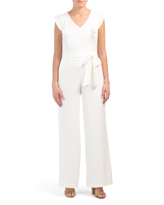 Flutter Sleeve Jumpsuit With Tie Detail