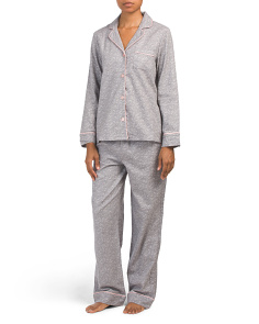 Flannel Satin Piped Long Pj Set