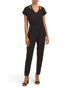 Juniors Cut Out Short Sleeve Jumpsuit