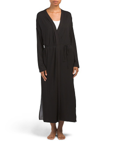 Long Jersey Robe With Georgette Trim