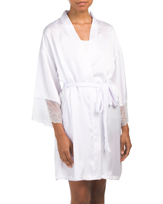 Short Robe Satin With Lace
