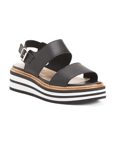 Made In Italy Leather 2 Band Slingback Sandals