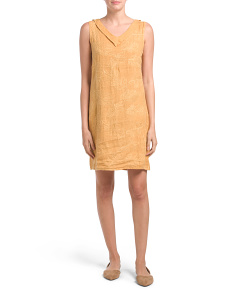 Made In Italy Embroidered Linen V-neck Dress