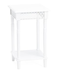 Square Wood Side Table With Cutouts